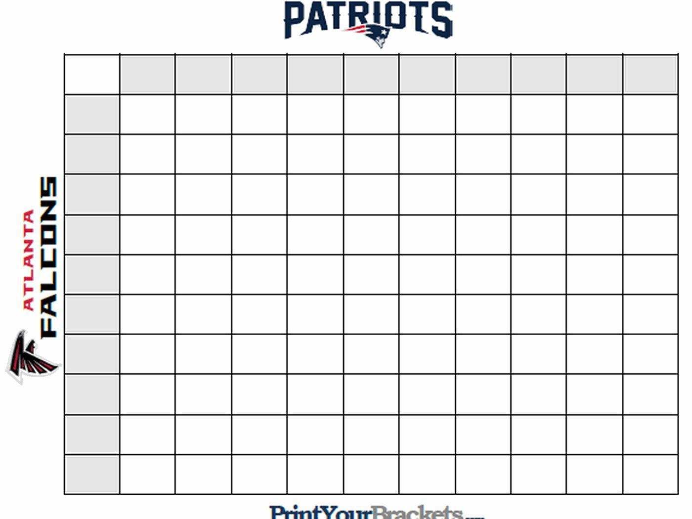 009 Frightening Football Square Template Excel Concept  Printable PoolFull