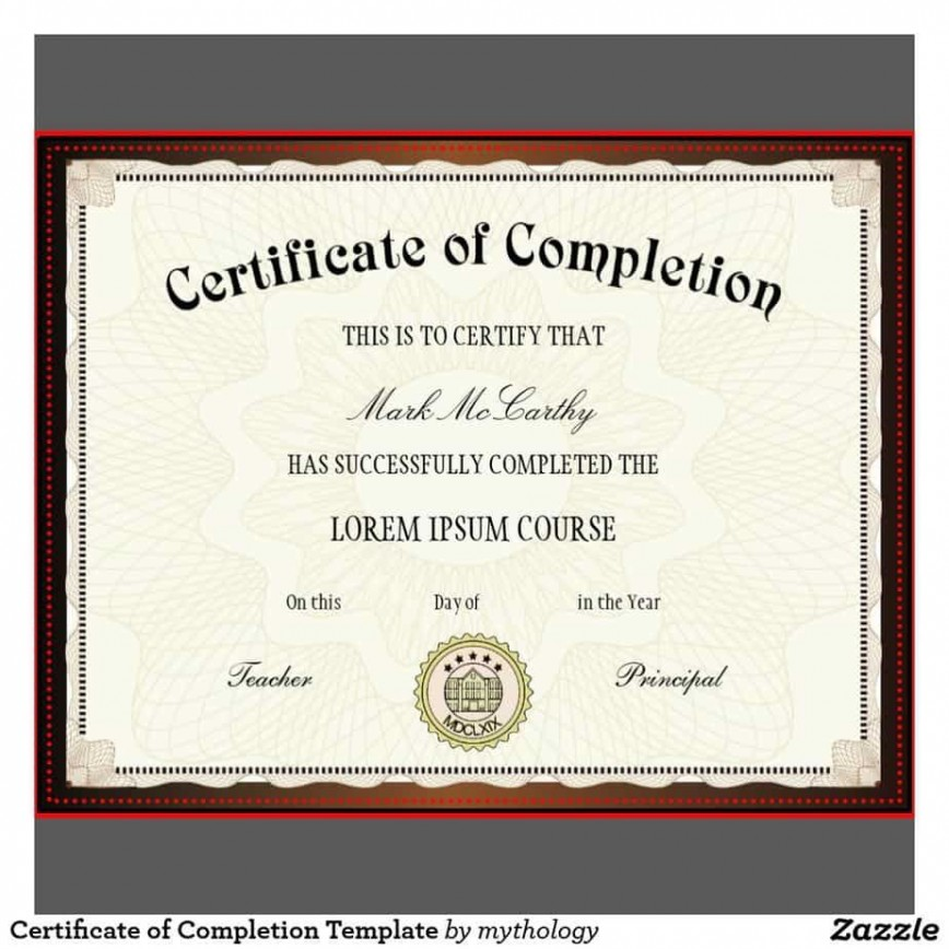 009 Frightening Free Certificate Of Completion Template Highest Quality  Download Printable Word Ojt