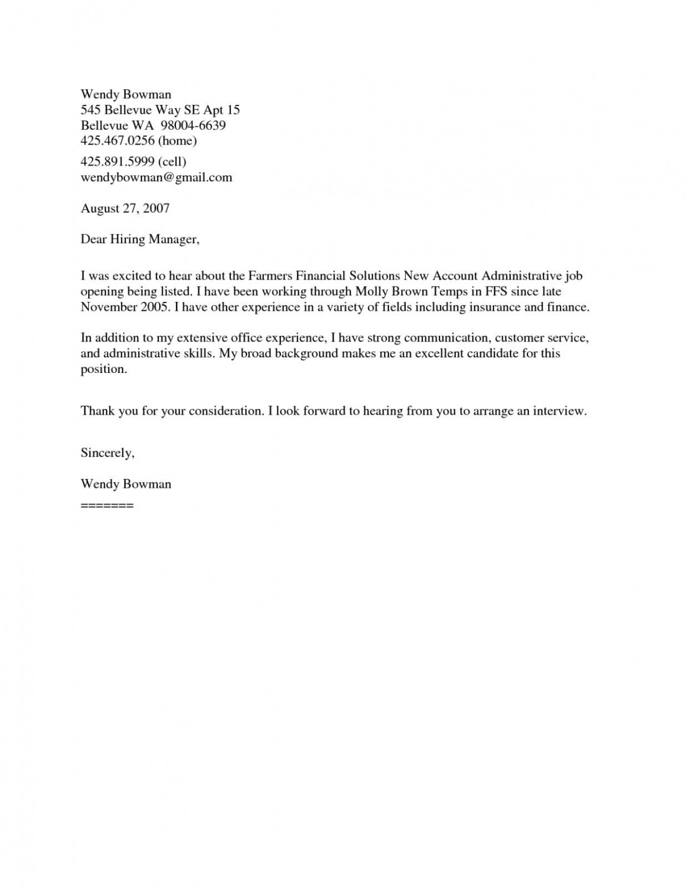 009 Frightening Generic Cover Letter For Resume Photo  General Example1400