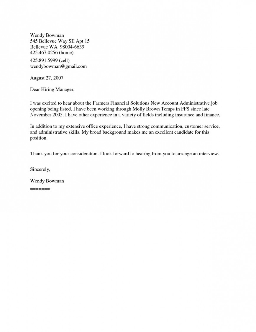 009 Frightening Generic Cover Letter For Resume Photo  General Example868