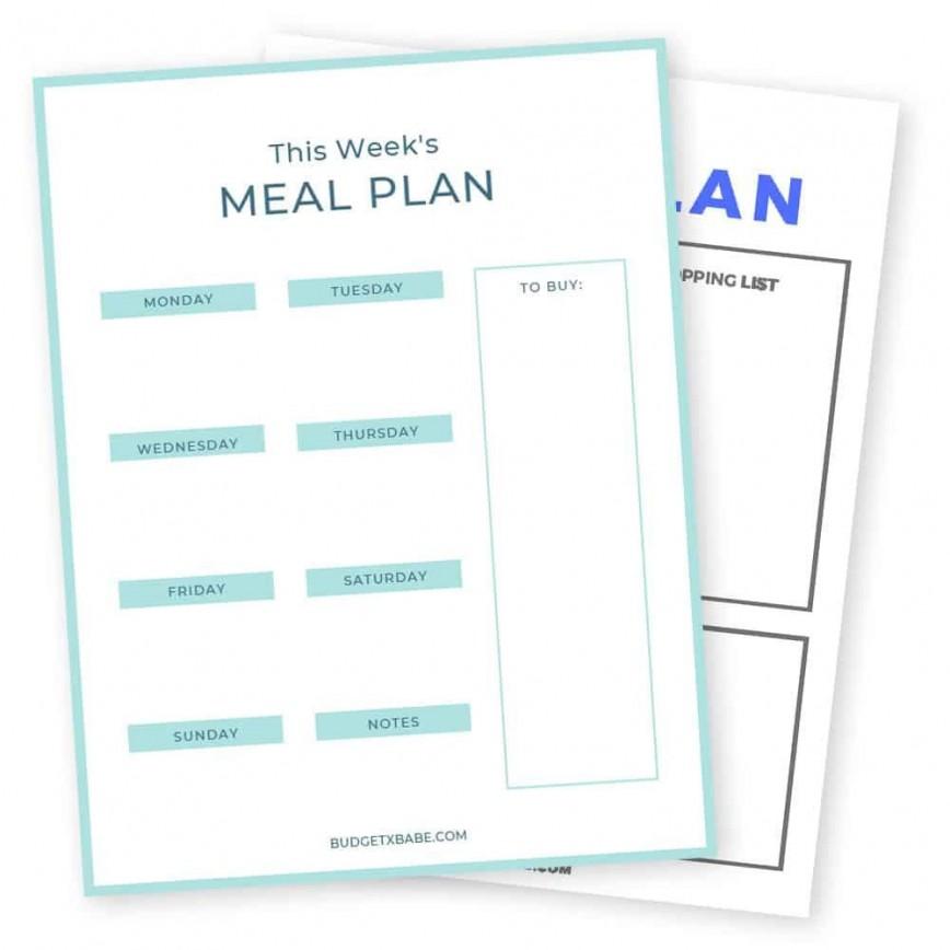 009 Frightening Meal Plan Printable Pdf Example  Worksheet Downloadable Template Sheet868