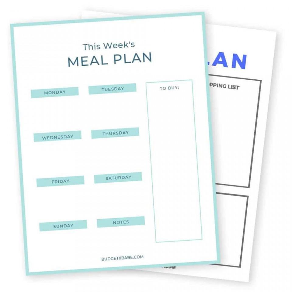 009 Frightening Meal Plan Printable Pdf Example  Worksheet Downloadable Template Sheet960