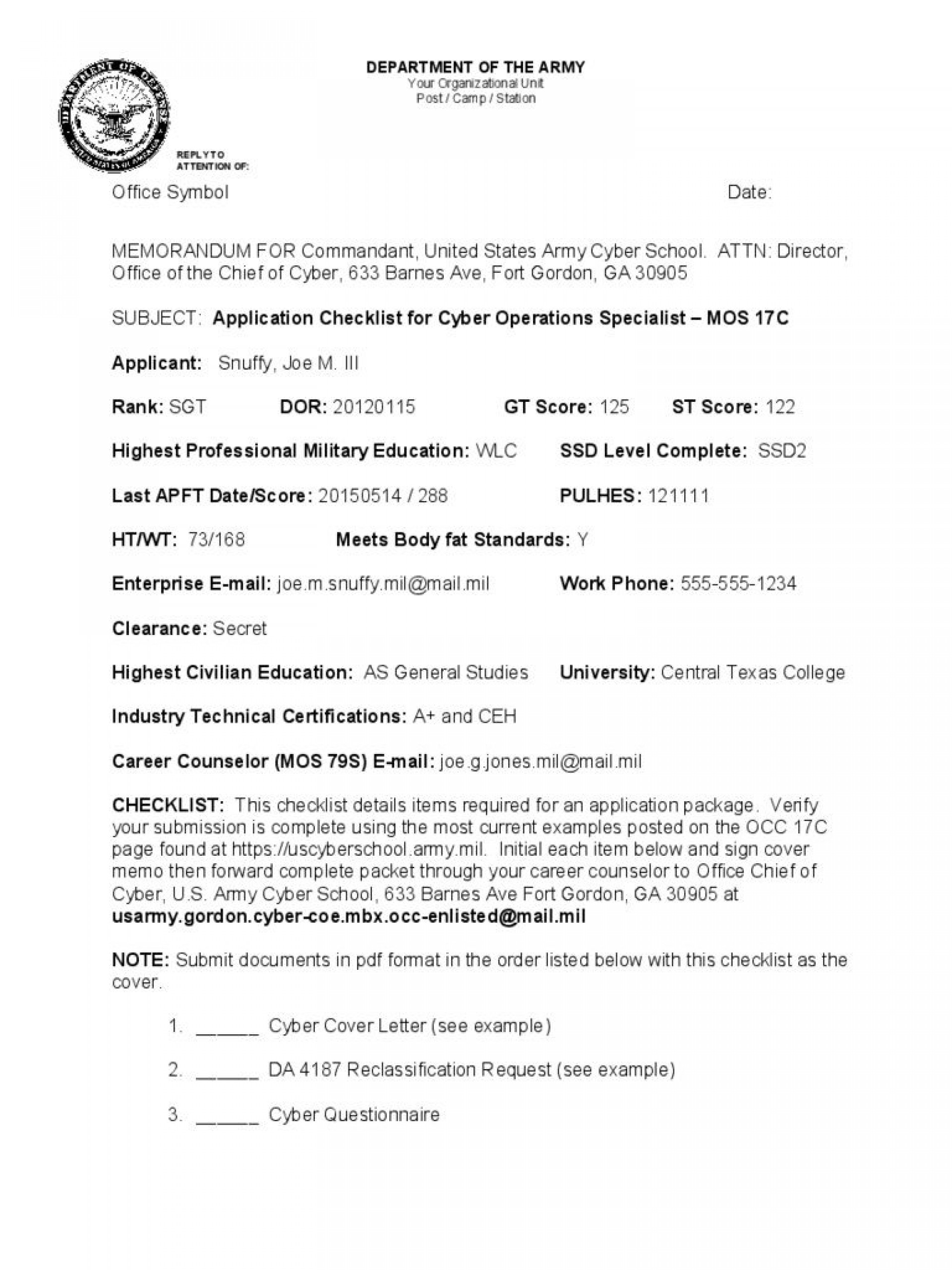 009 Frightening Memorandum For Record Template Sample  Army Pdf Fillable Example Wlc1920