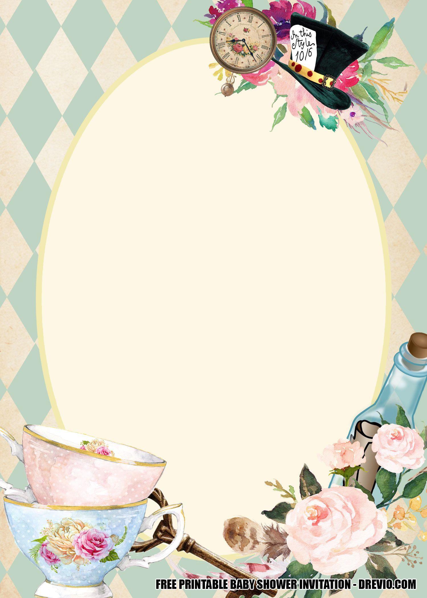 009 Imposing Alice In Wonderland Invitation Template High Resolution  Templates Wedding Birthday Free Tea PartyFull