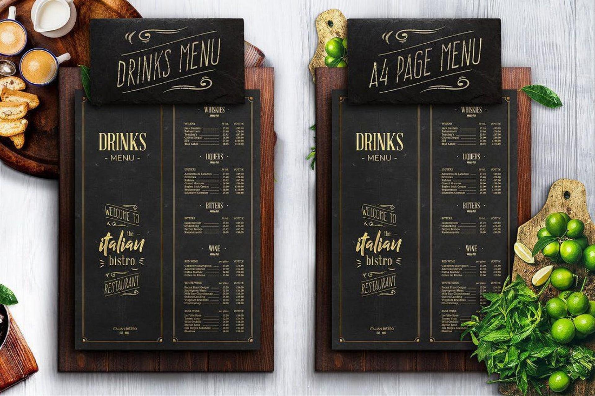 009 Imposing Bar Menu Template Free Example  Download Snack1920