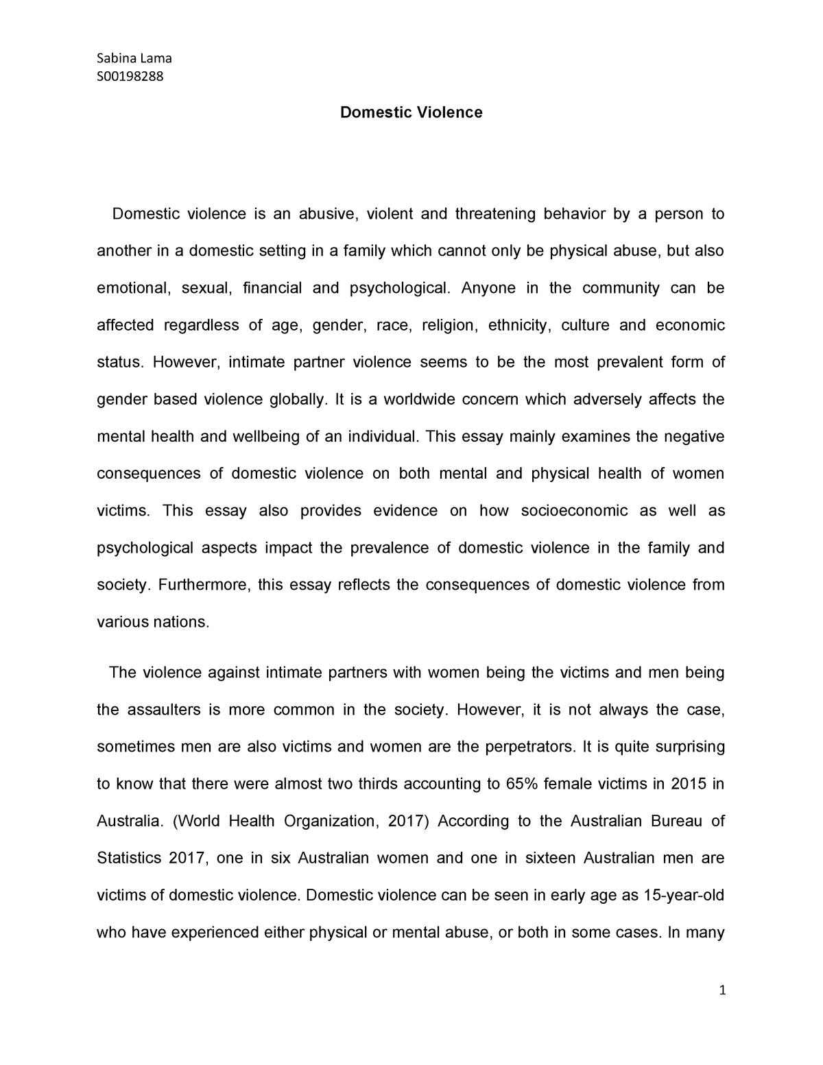 009 Imposing Domestic Violence Essay Photo  Persuasive Topic QuestionFull