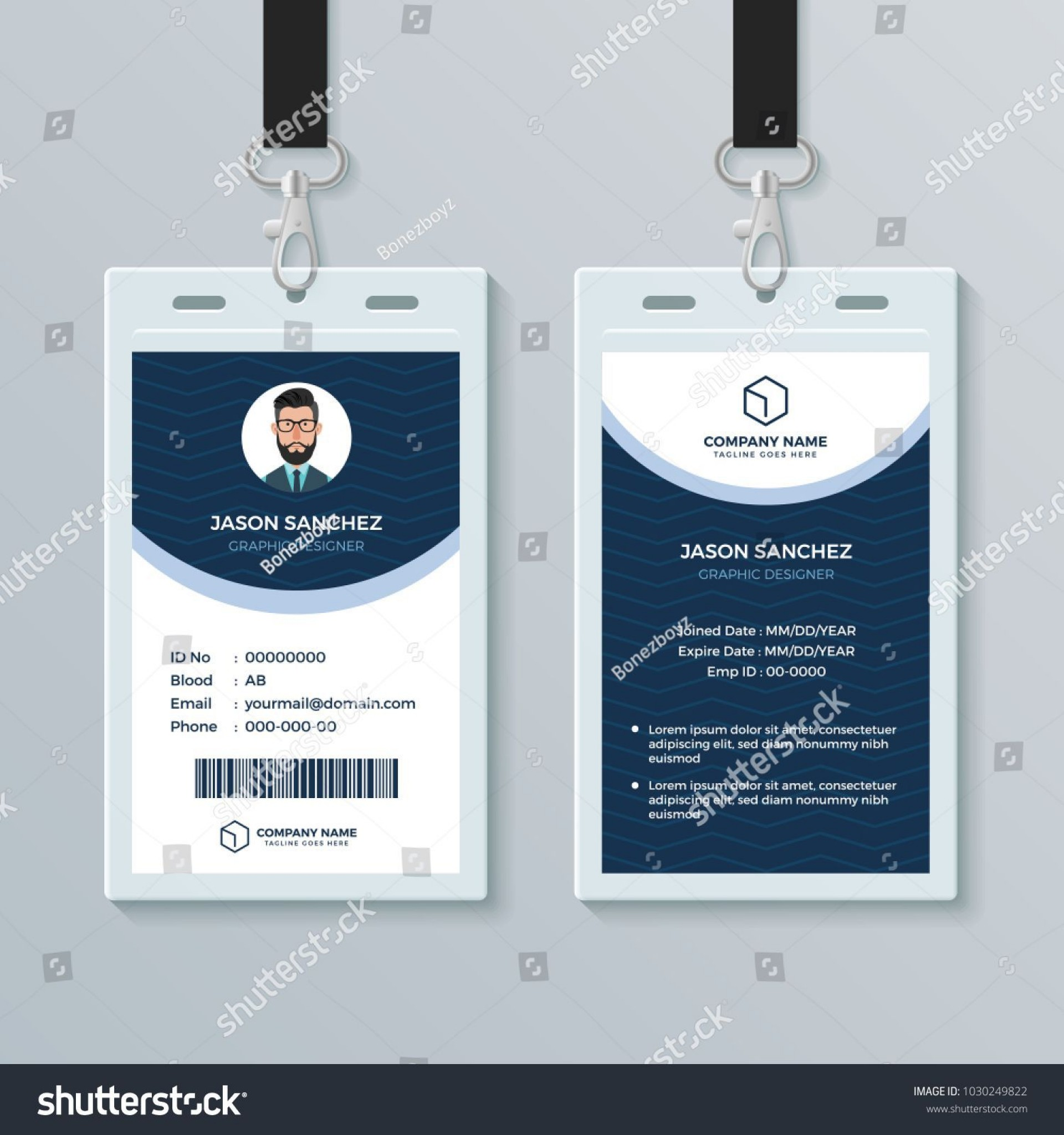 009 Imposing Employee Id Card Template High Definition  Free Download Psd Word1920