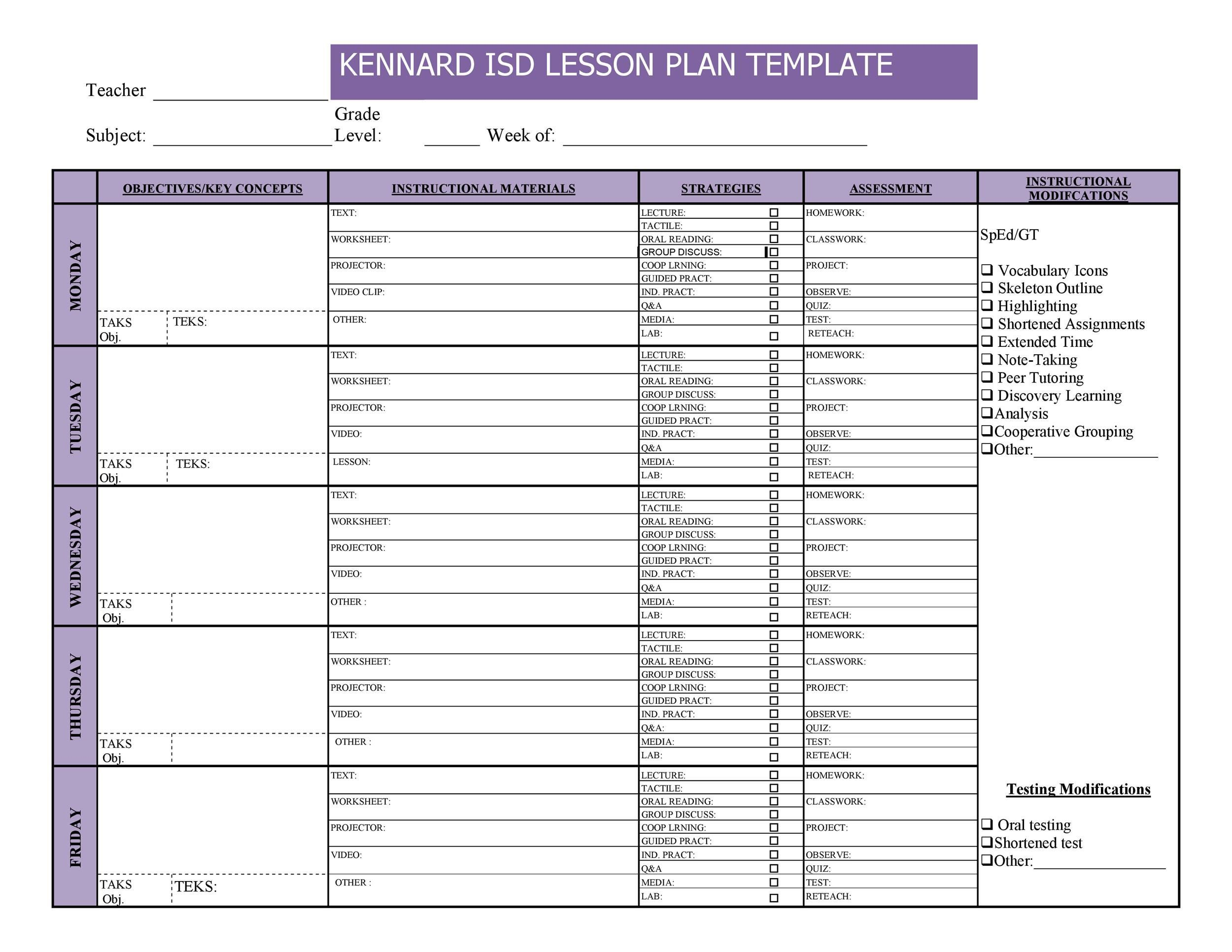 009 Imposing Free Editable Weekly Lesson Plan Template Pdf Photo  BlankFull