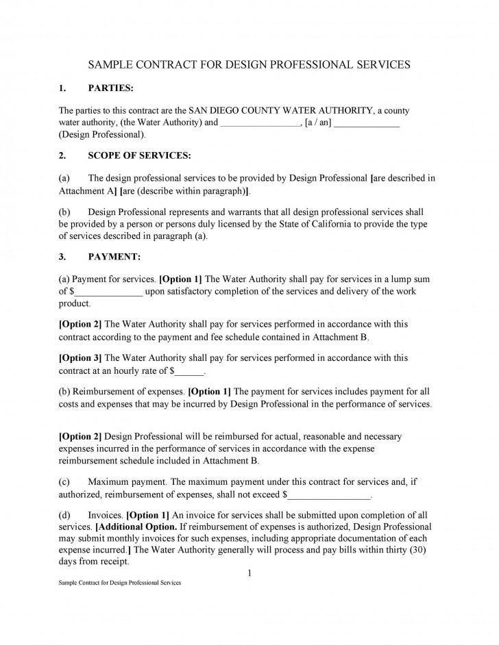 009 Imposing Free Service Contract Template Pdf Idea 728