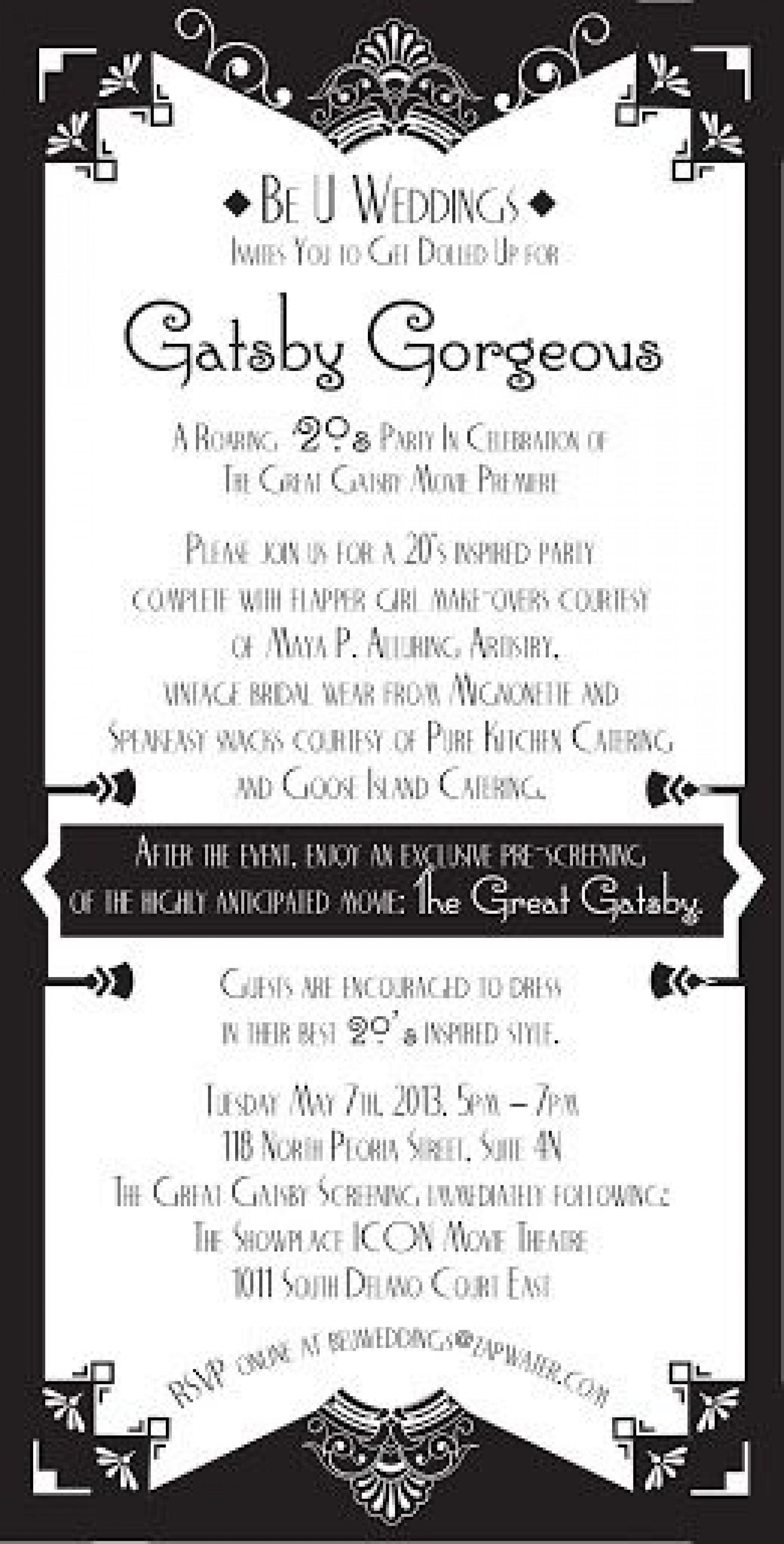 009 Imposing Great Gatsby Invitation Template Idea  Templates Free Download Blank1920