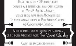 009 Imposing Great Gatsby Invitation Template Idea  Templates Free Download Blank