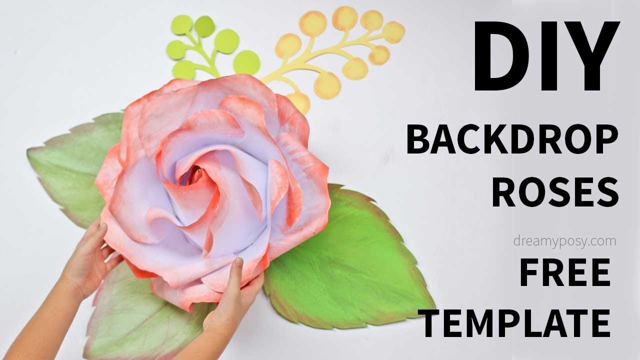 009 Imposing Large Rose Paper Flower Template Free Picture Full