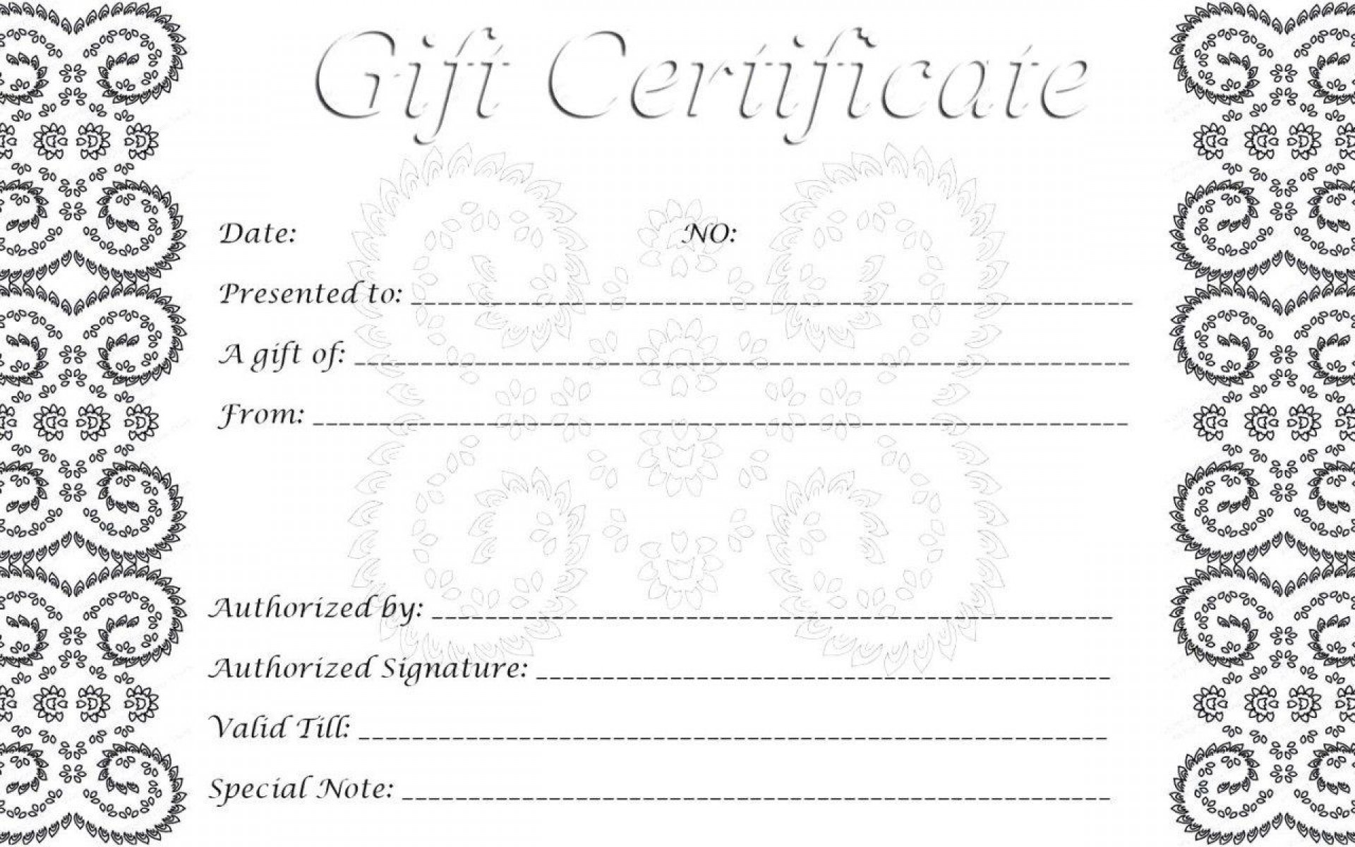 009 Imposing Printable Gift Certificate Template Sample  Card Free Christma Massage1920