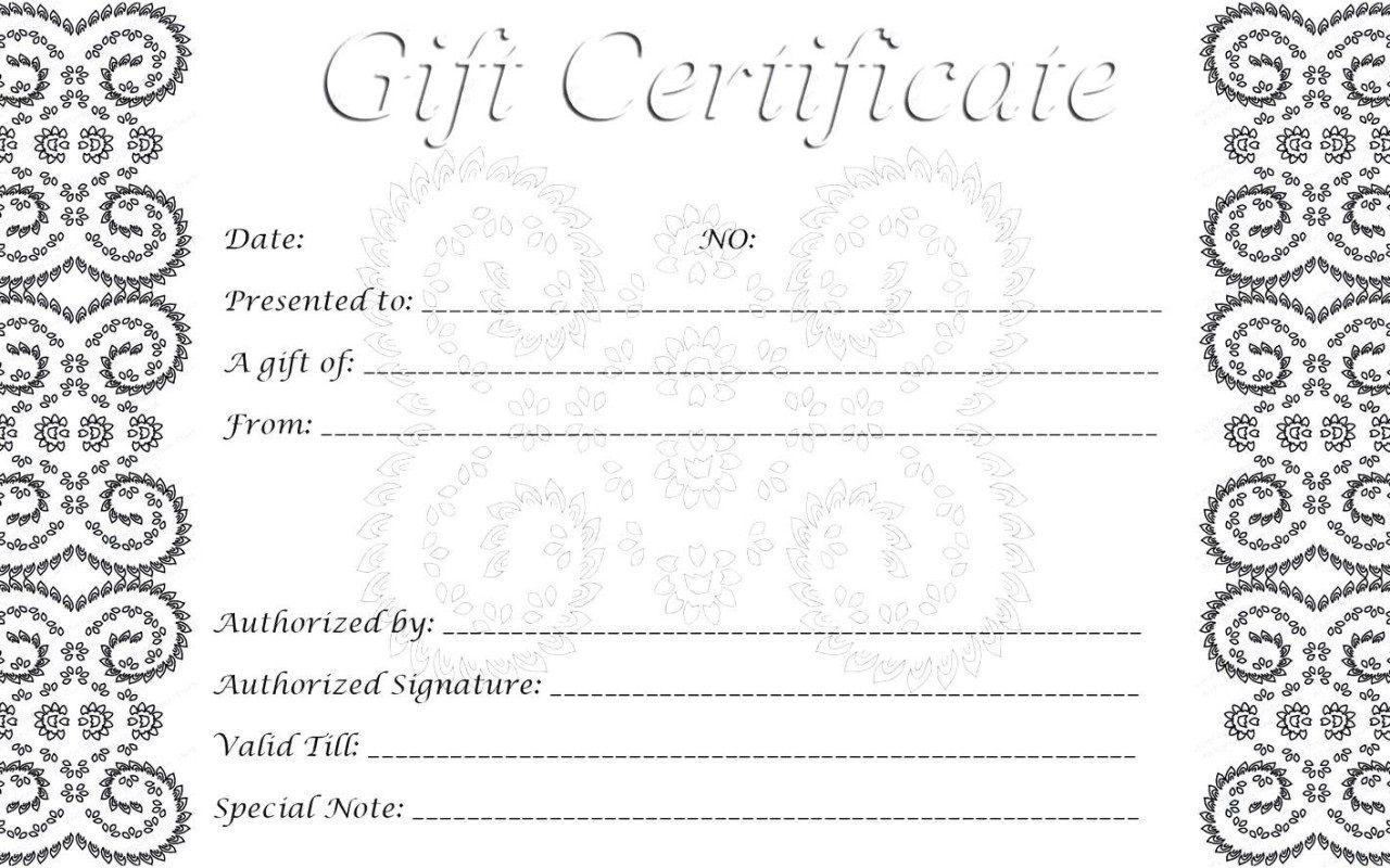 009 Imposing Printable Gift Certificate Template Sample  Card Free Christma MassageFull