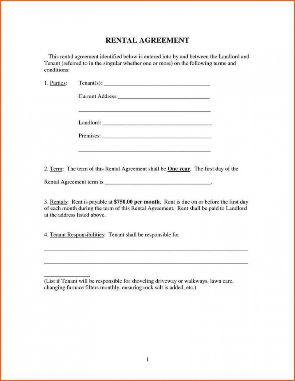 009 Imposing Renter Lease Agreement Form High Definition  Rent Format In Tamil Florida Rental Printable960