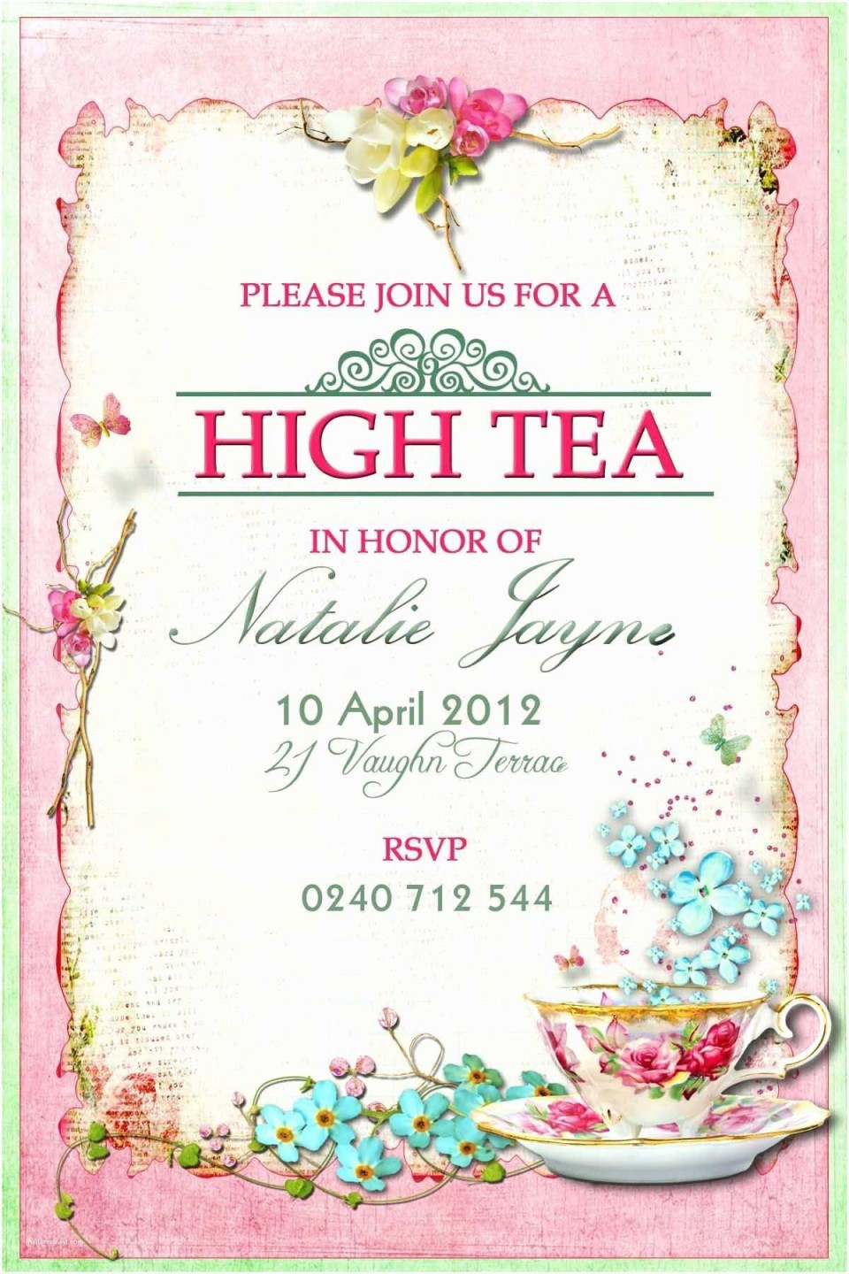 009 Imposing Tea Party Invitation Template Free High Definition  Vintage Princes Printable960