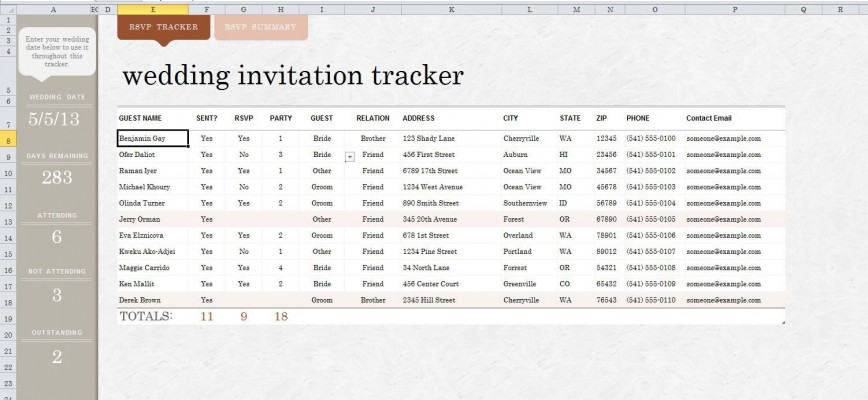009 Imposing Wedding Guest List Excel Spreadsheet Template High Definition 868