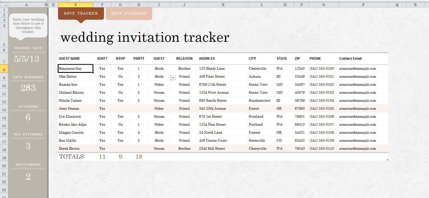 009 Imposing Wedding Guest List Excel Spreadsheet Template High Definition Full
