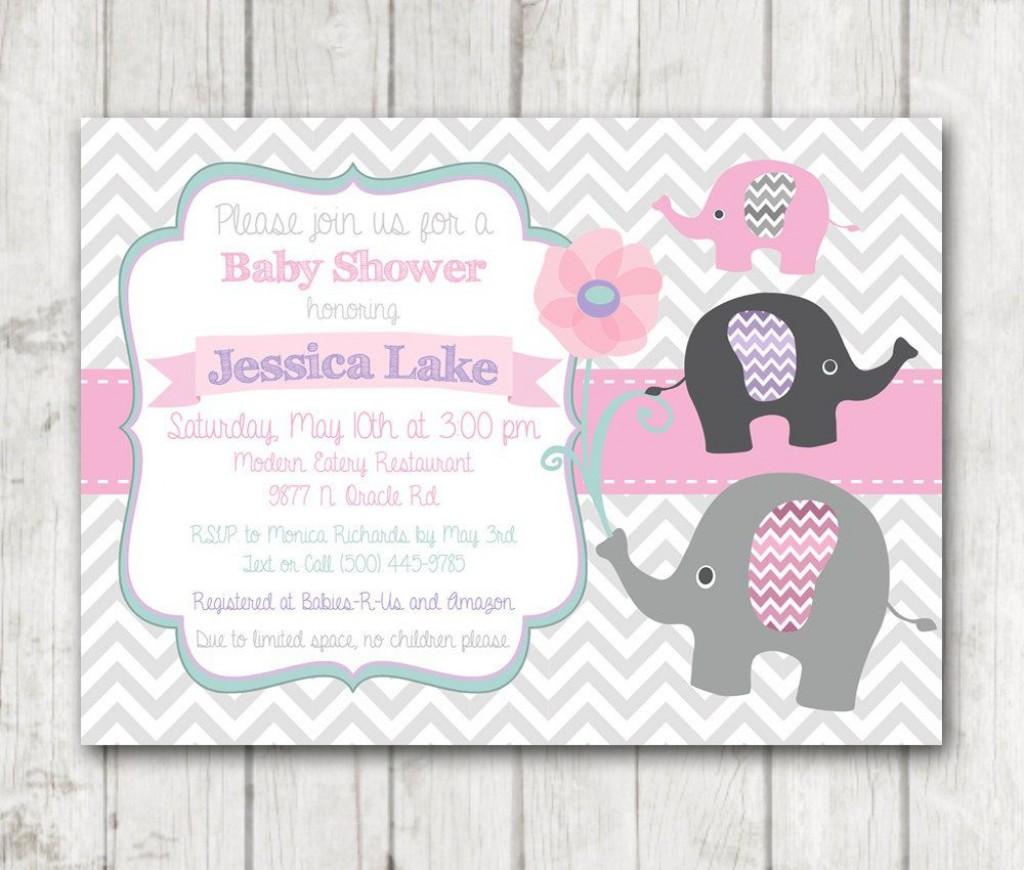 009 Impressive Baby Shower Invitation Girl Elephant Concept  Free Pink TemplateLarge