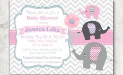 009 Impressive Baby Shower Invitation Girl Elephant Concept  Free Pink Template