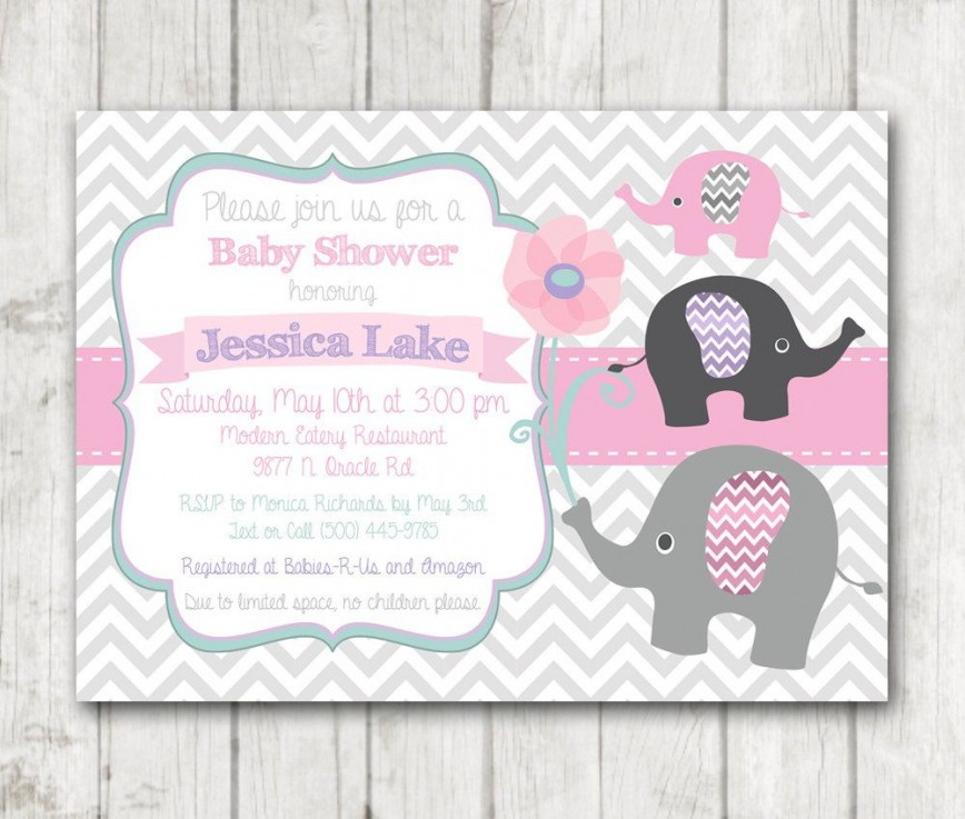 009 Impressive Baby Shower Invitation Girl Elephant Concept  Pink Free Printable For Template