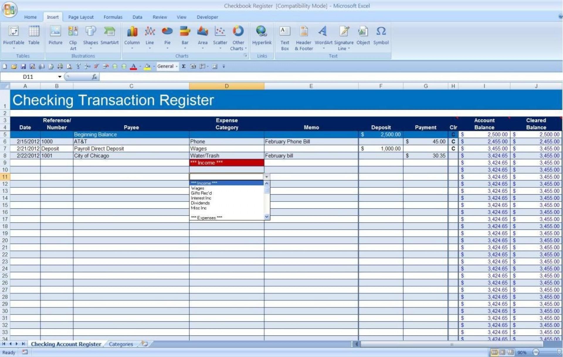 009 Impressive Checkbook Register Template Excel 2013 High Resolution 1920