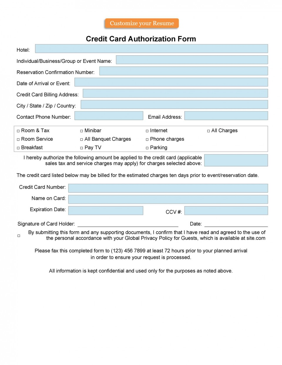 009 Impressive Credit Card Usage Request Form Template Example 960