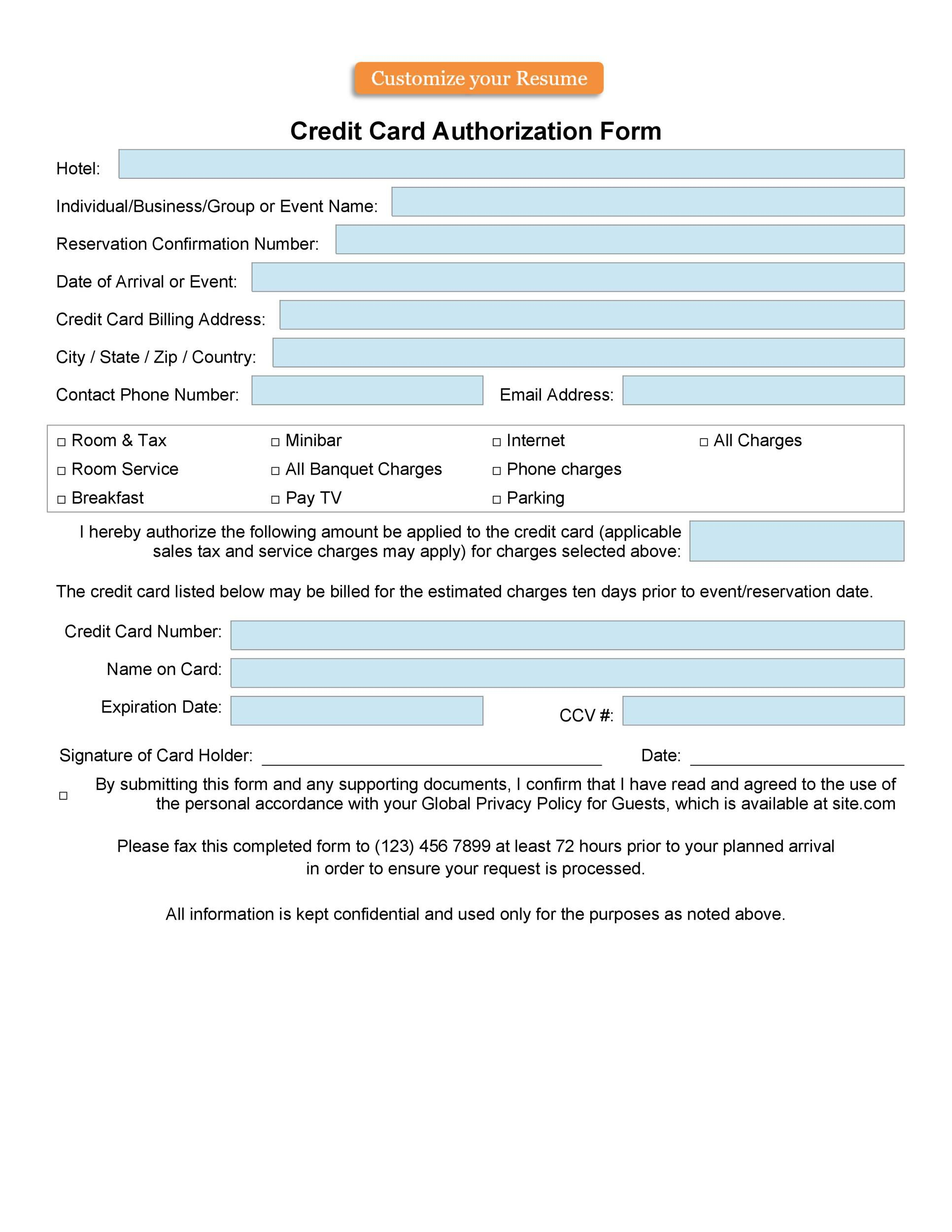 009 Impressive Credit Card Usage Request Form Template Example Full