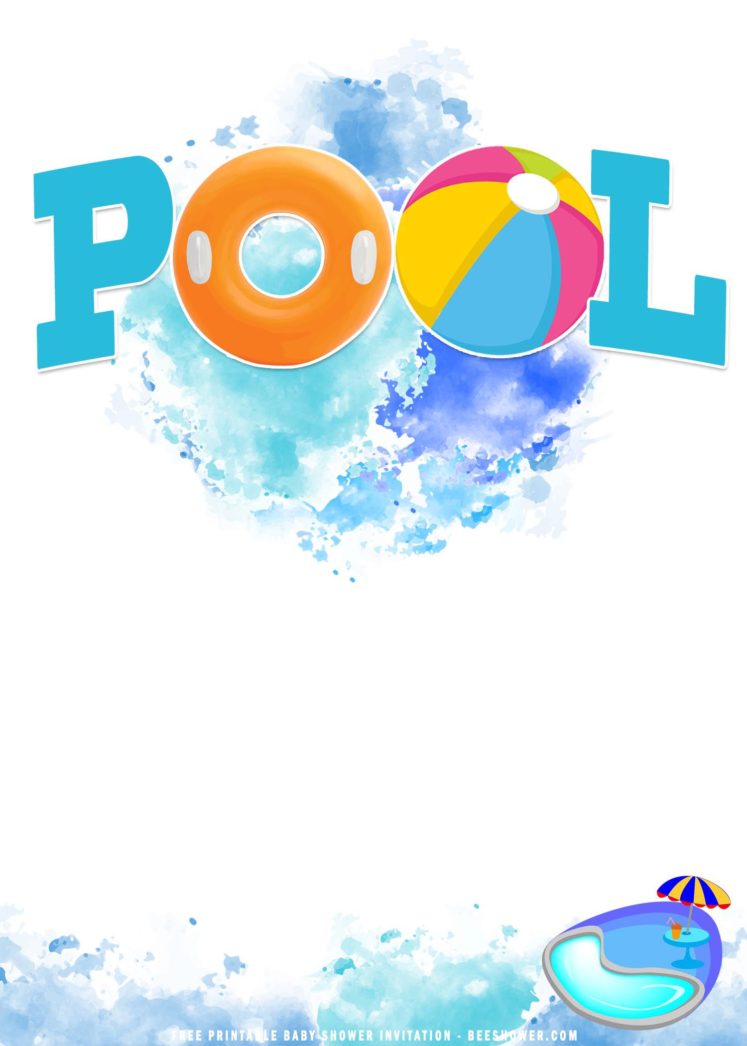 009 Impressive Free Pool Party Invitation Template Printable High Def  Card SummerFull