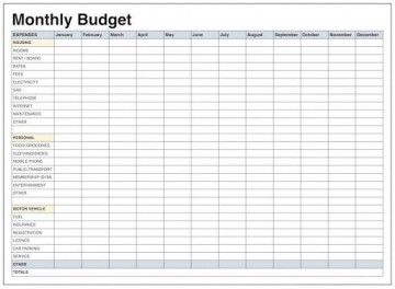 009 Impressive Free Printable Home Budget Template Photo  Form Sheet360