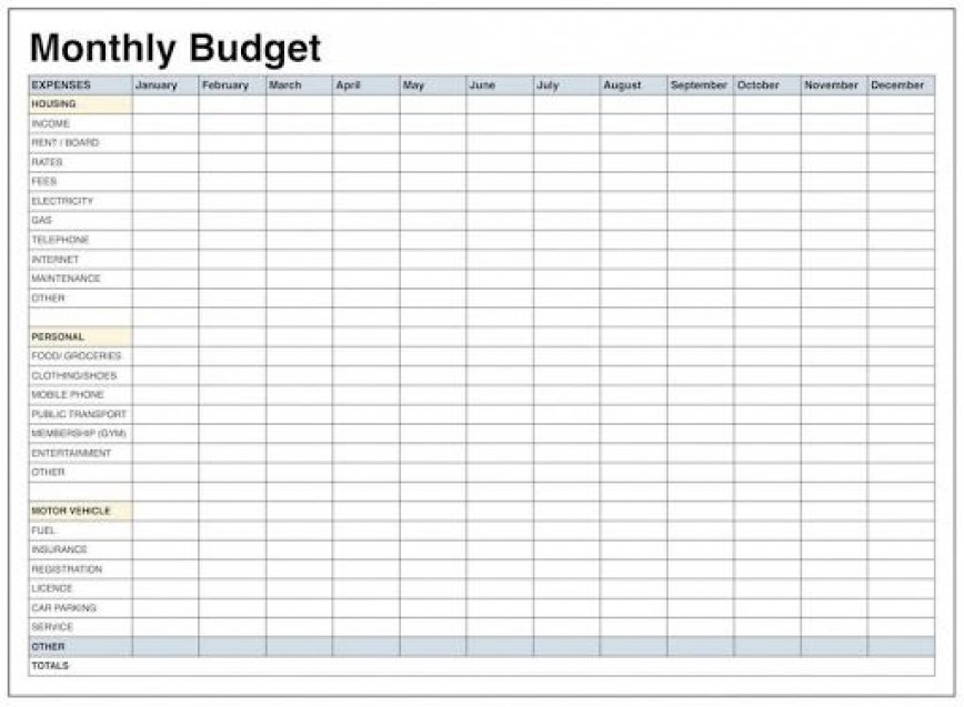 009 Impressive Free Printable Home Budget Template Photo  Form868