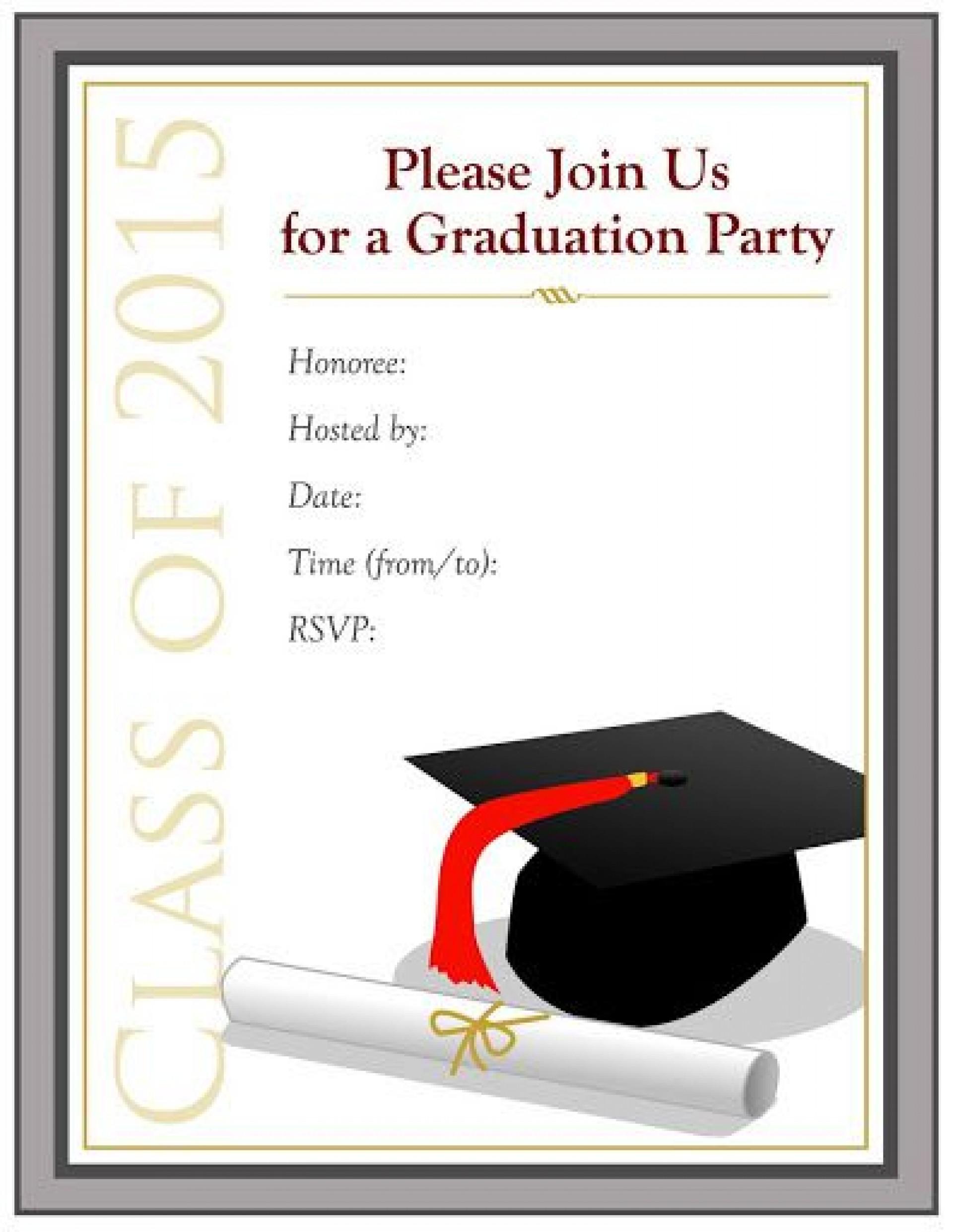 009 Impressive Graduation Party Invitation Template Picture  Templates 4 Per Page Free Reception1920
