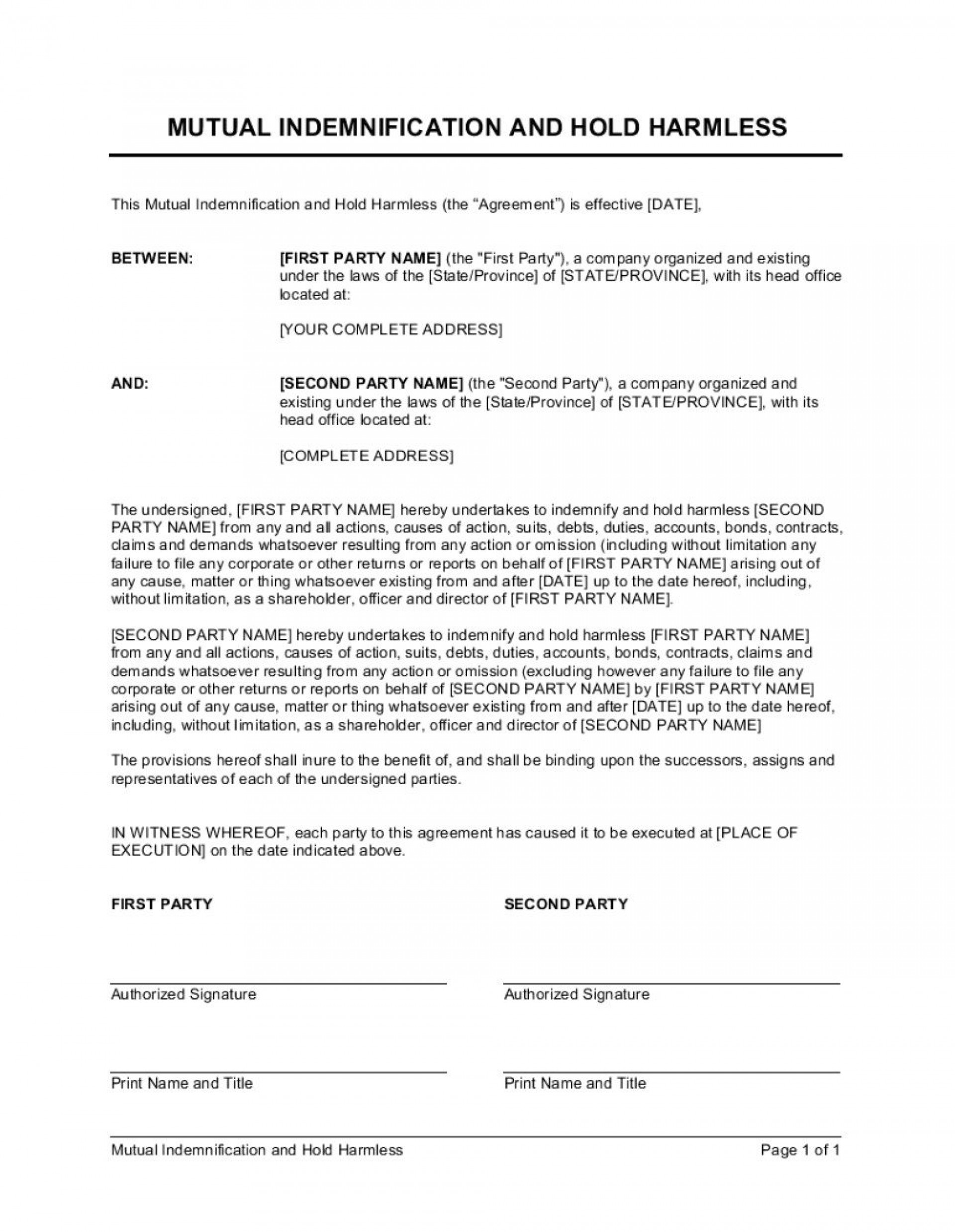 009 Impressive Hold Harmles Agreement Template Sample  Canada Word Free Download1920