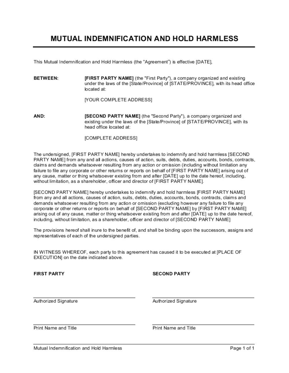 009 Impressive Hold Harmles Agreement Template Sample  Canada Word Free DownloadFull