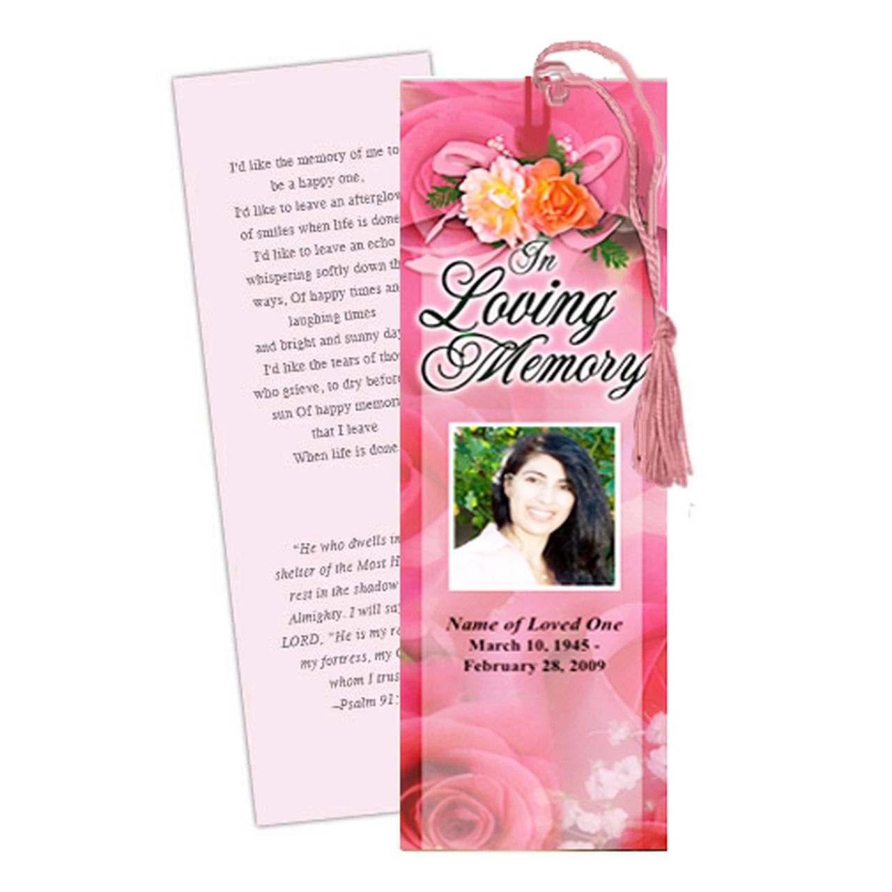 009 Impressive In Loving Memory Bookmark Template Free Download Sample Full