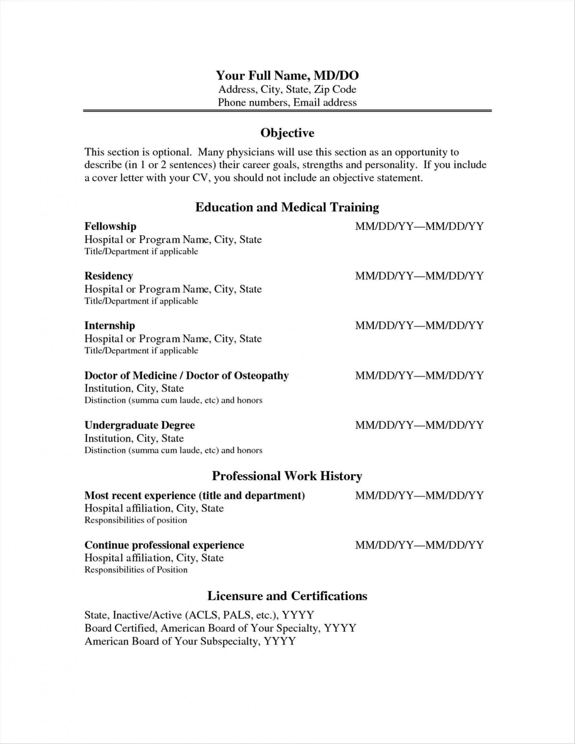 009 Impressive Medical Curriculum Vitae Template Sample  Templates Word Student1920