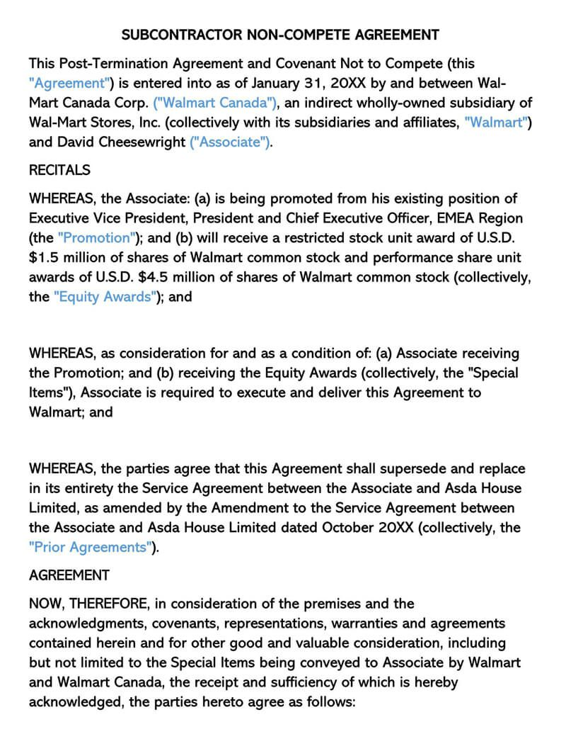 009 Impressive Non Compete Agreement Template High Resolution  Sample India Free FloridaFull