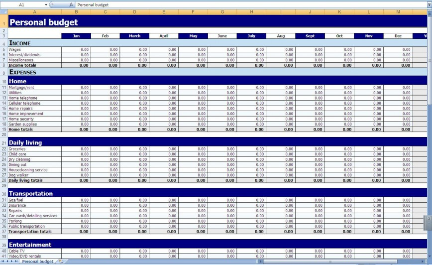 009 Impressive Personal Expense Spreadsheet Template Photo  Budget Excel Finance Monthly Sheet