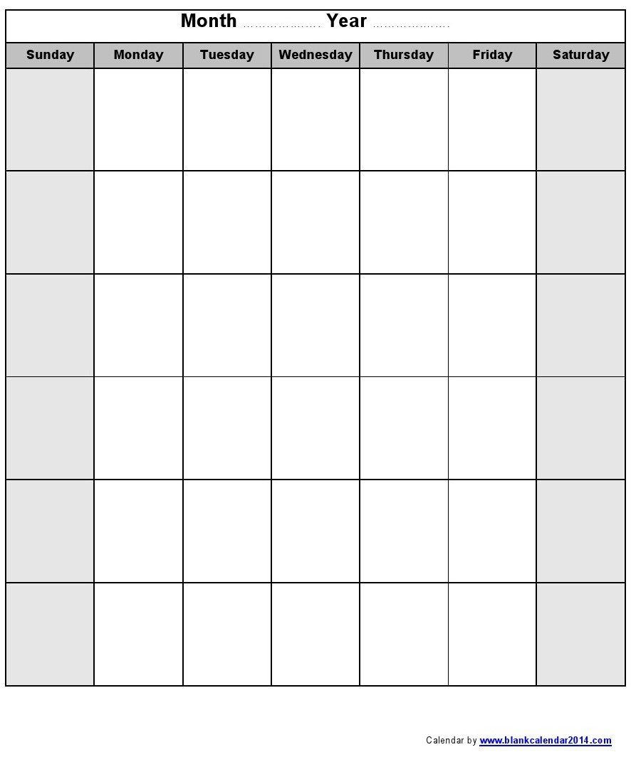 009 Impressive Printable Blank Monthly Calendar Template Image  PdfFull