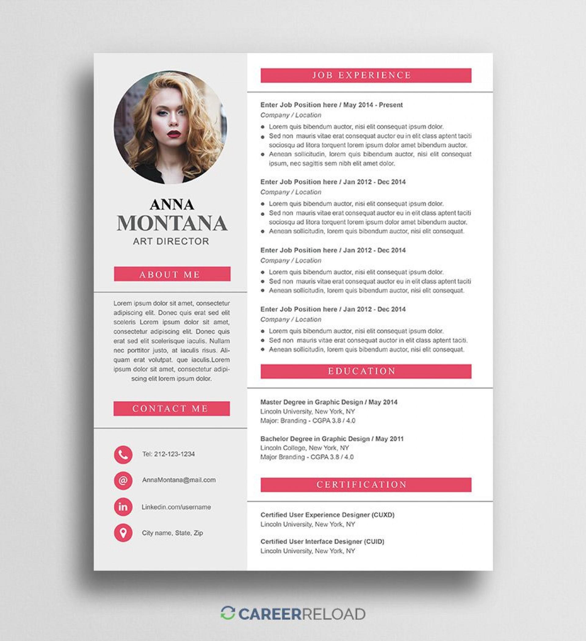 009 Impressive Psd Resume Template Free Download Photo  Graphic Designer Creative Cv1920