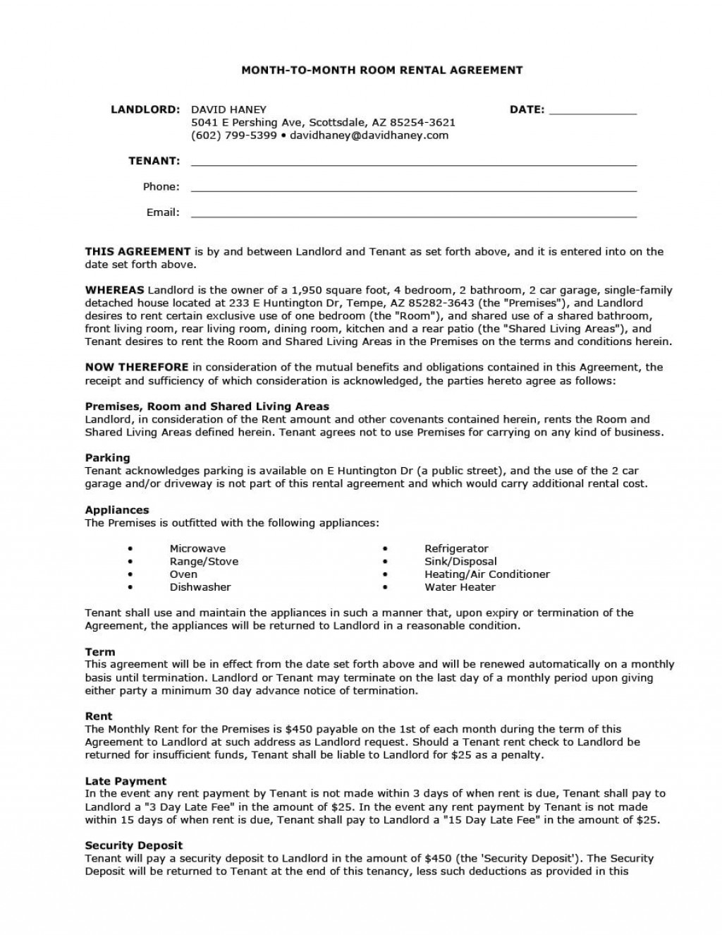 009 Impressive Rental House Contract Template Free Sample  Agreement Form Property LeaseLarge