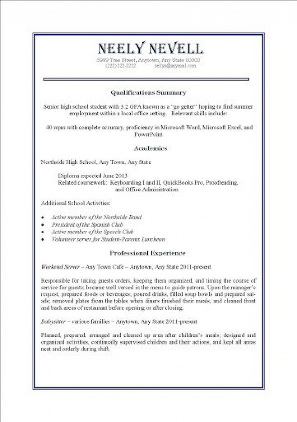 009 Impressive Resume Template For First Job High Definition  After College Sample Student TeenagerLarge