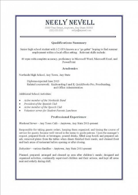 009 Impressive Resume Template For First Job High Definition  After College Sample Student Teenager480
