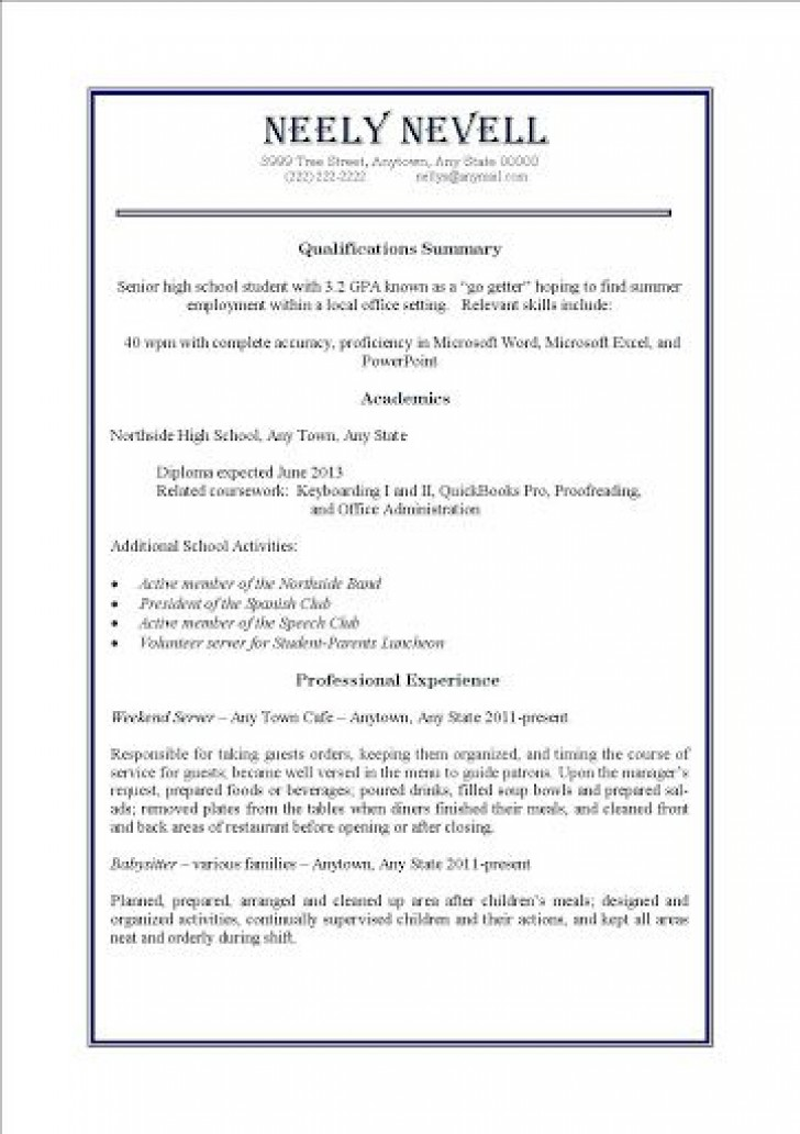 009 Impressive Resume Template For First Job High Definition  After College Sample Student Teenager728