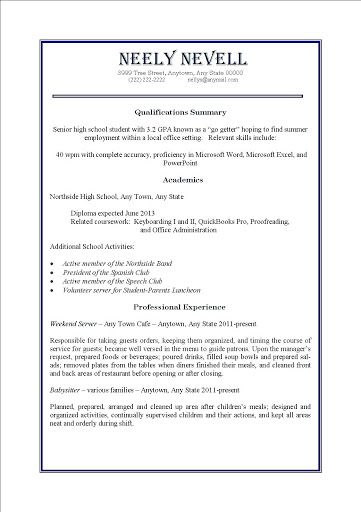 009 Impressive Resume Template For First Job High Definition  After College Sample Student TeenagerFull