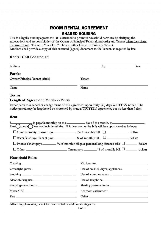 009 Impressive Room Rental Agreement Simple Form Design  Template Word Doc Rent Format In Free UkLarge