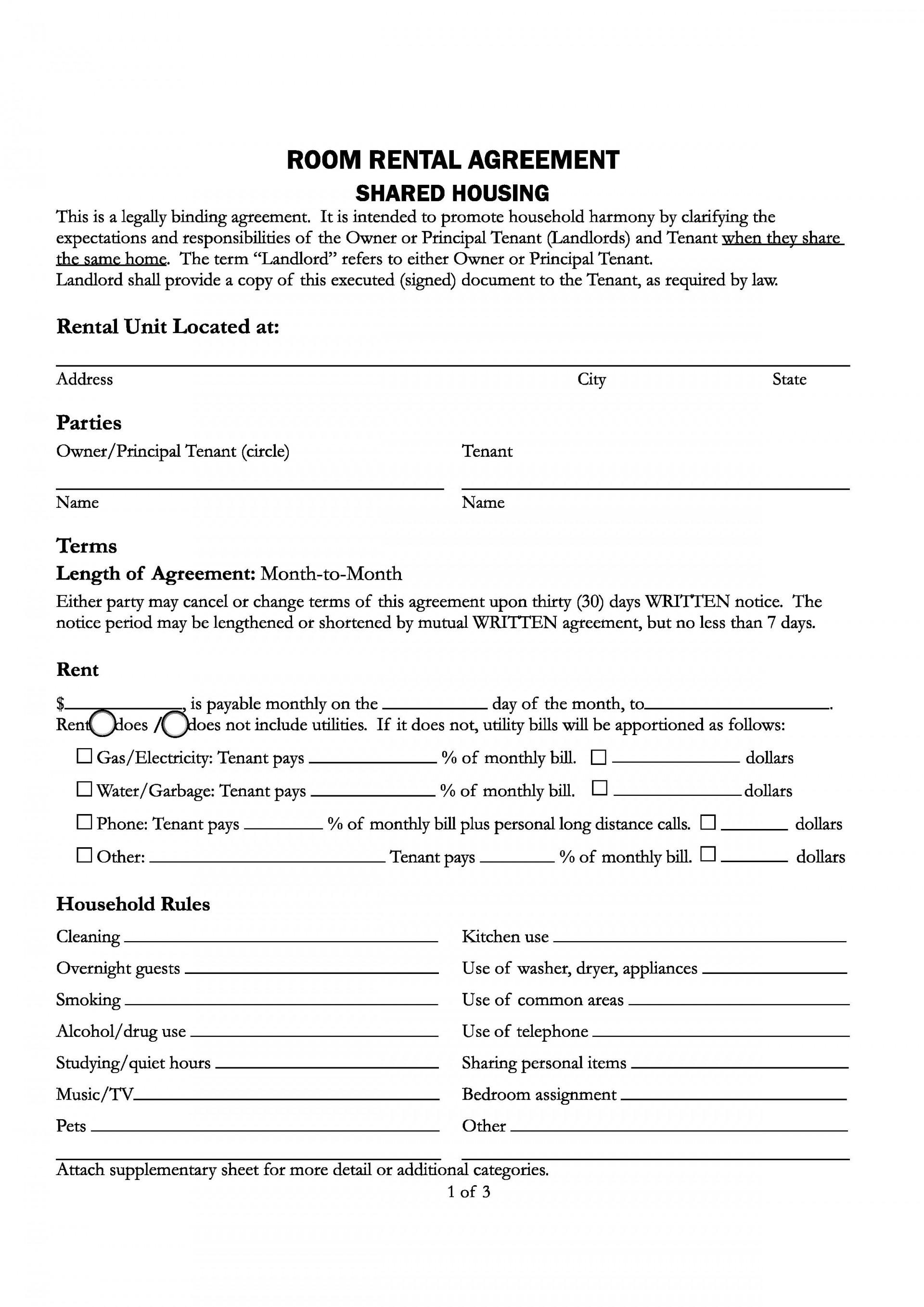 009 Impressive Room Rental Agreement Simple Form Design  Template Word Doc Rent Format In Free Uk1920