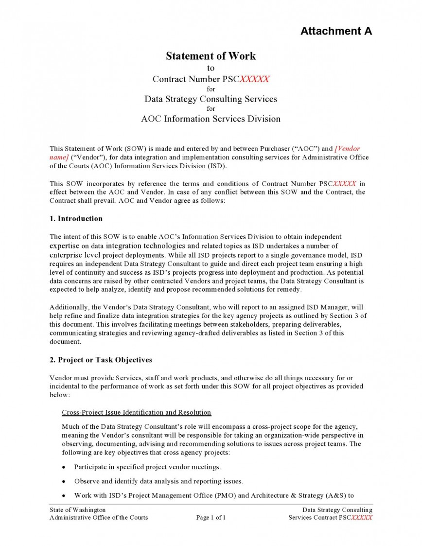 009 Impressive Sample Statement Of Work Consulting Service Highest Quality 868