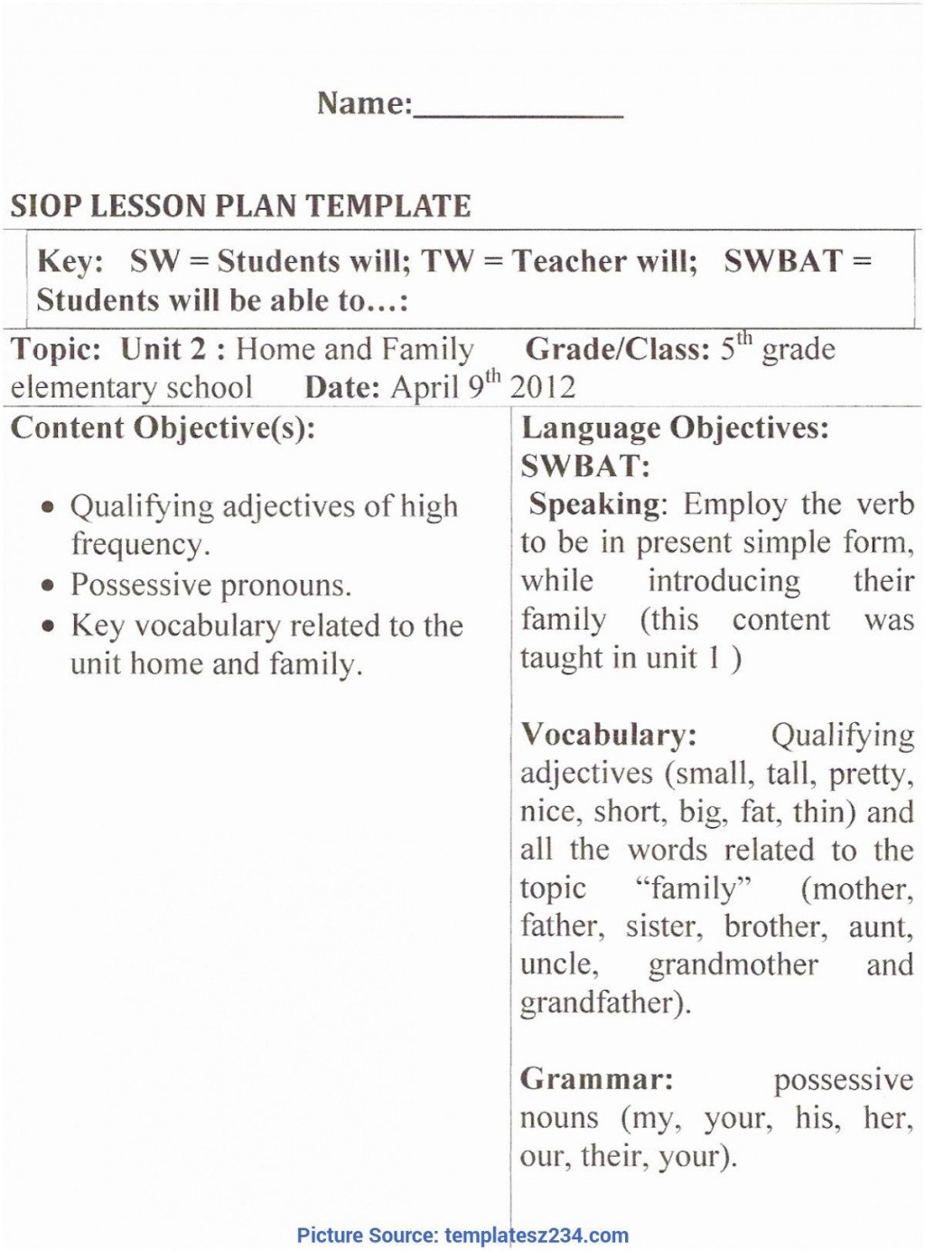 009 Impressive Siop Lesson Plan Template 1 Example Photo Large