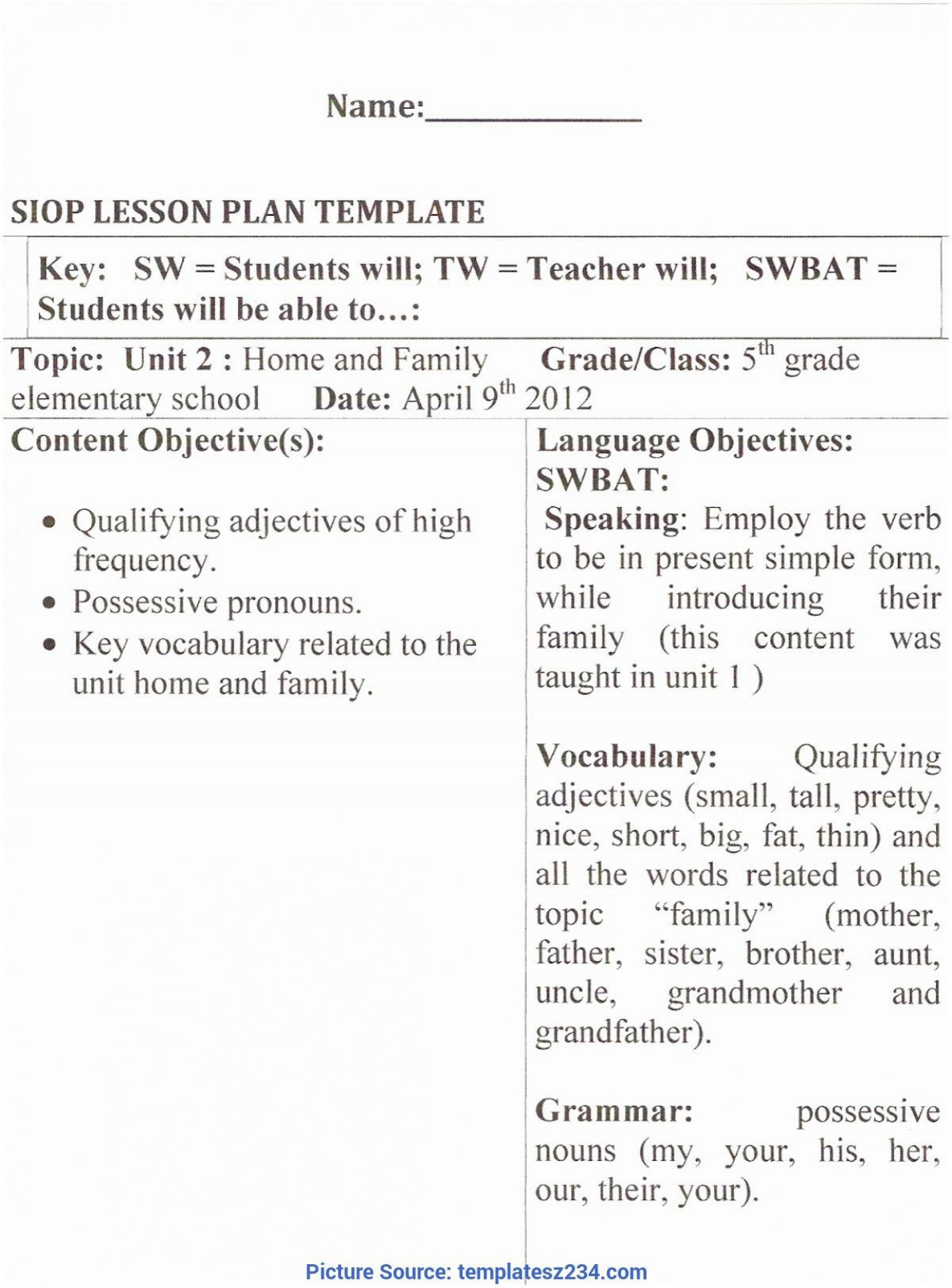 009 Impressive Siop Lesson Plan Template 1 Example Photo 1920
